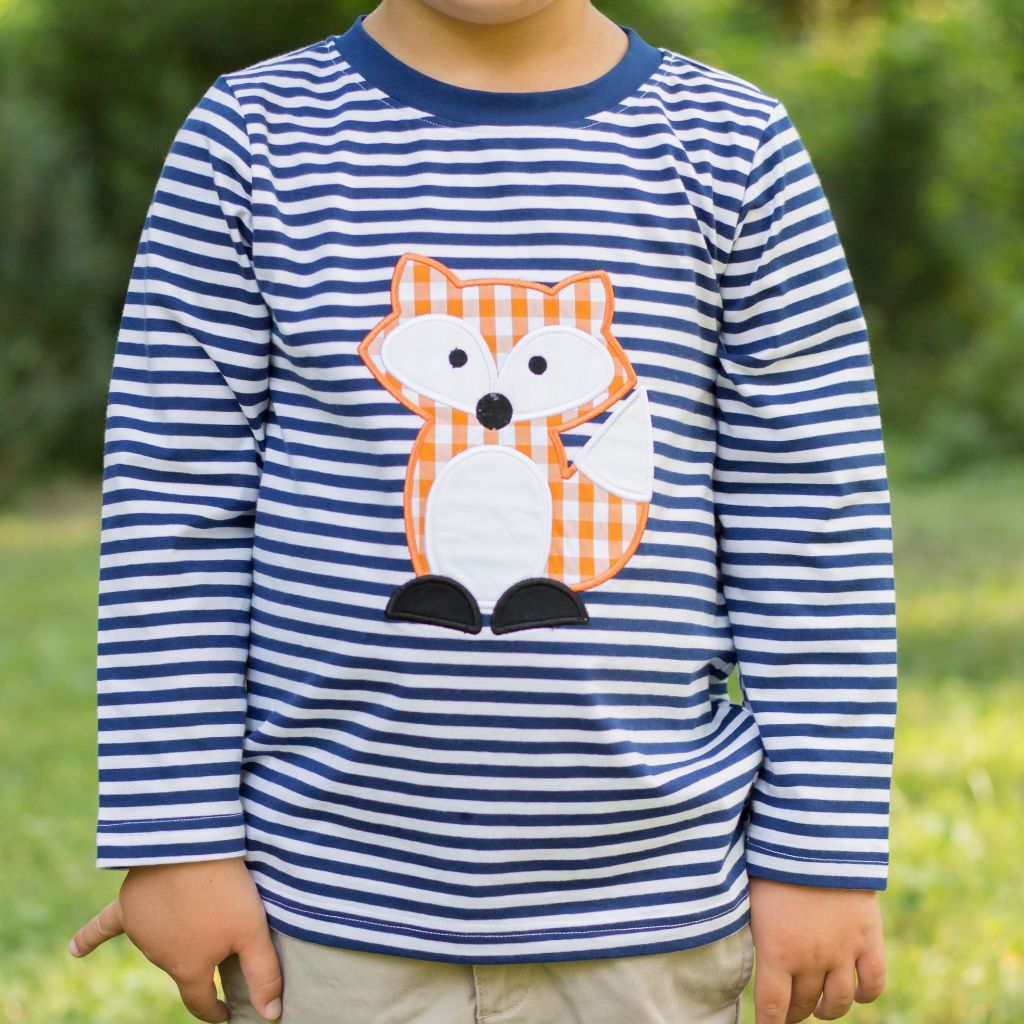 Gingham Fox Applique Shirt for Boys