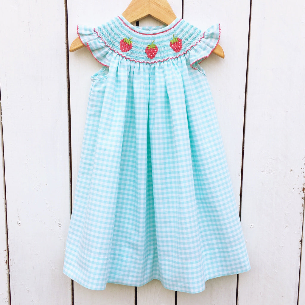 Smocked Aqua Mint Gingham Bishop Pink Strawberry Smocking