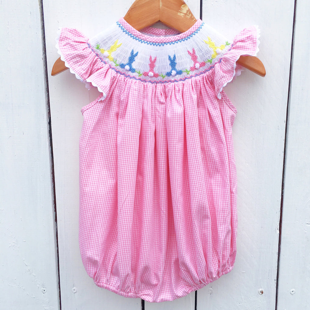 Smocked Bunny Bubble Pink Gingham Easter Bubble Toddler Baby Girl