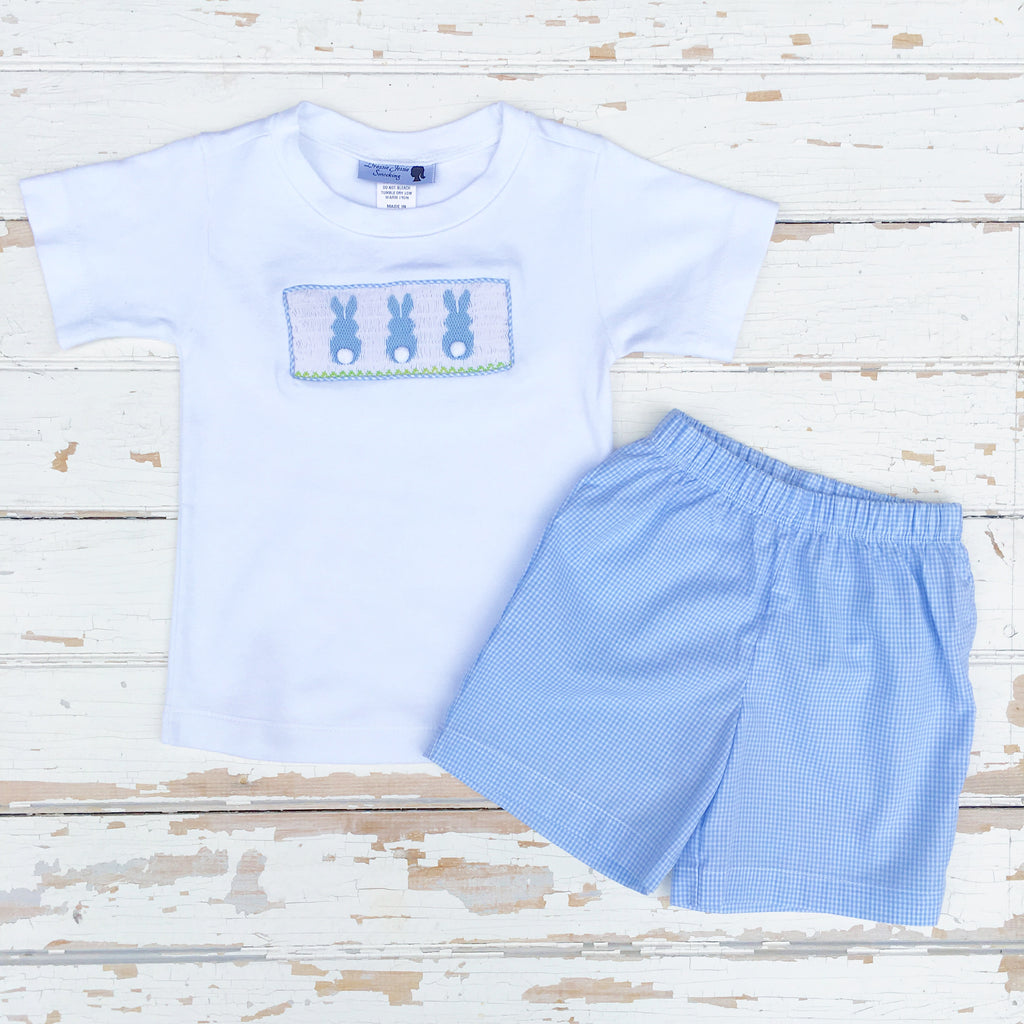 Boys Smocked Easter Outfit Blue Gingham Shorts Bunny Smocking