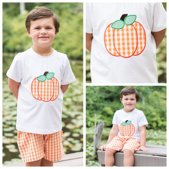 Boys Orange Gingham Pumpkin Applique Shirt and Shorts Set