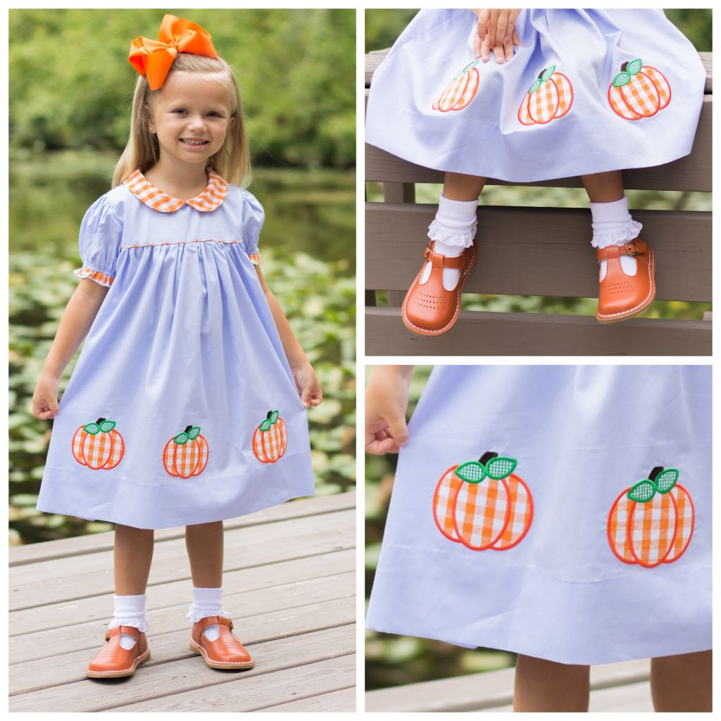 Girls Gingham Pumpkin Applique Dress