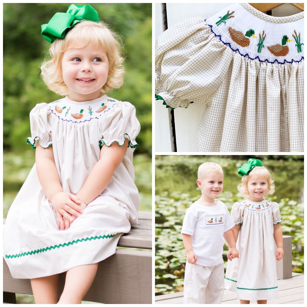 Girls Smocked Mallard Duck Bishop Dress