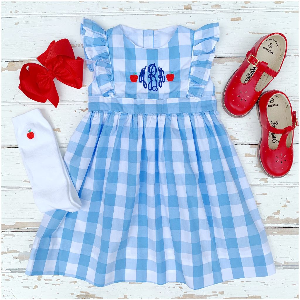 Girls Monogram Apple Dress for School