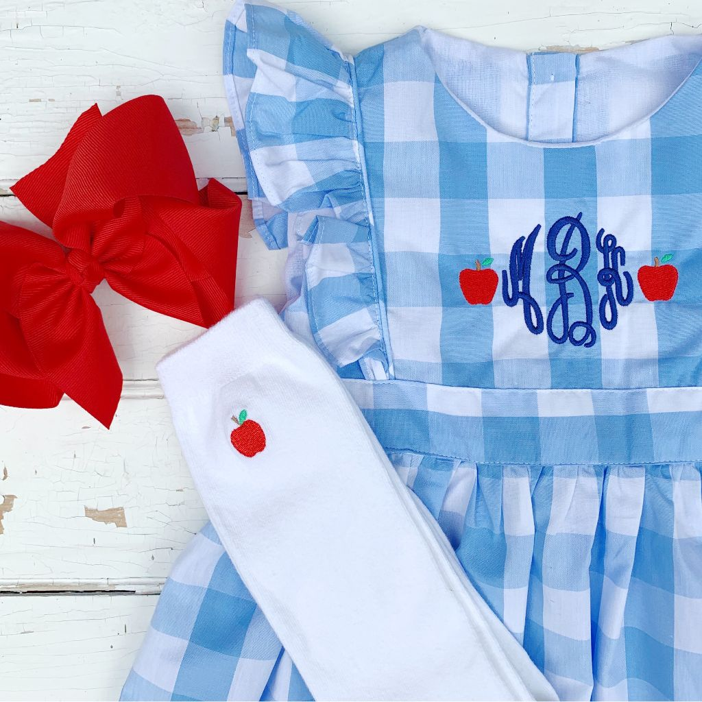 Pinafore Style Dress Buffalo Check Apple Monogram