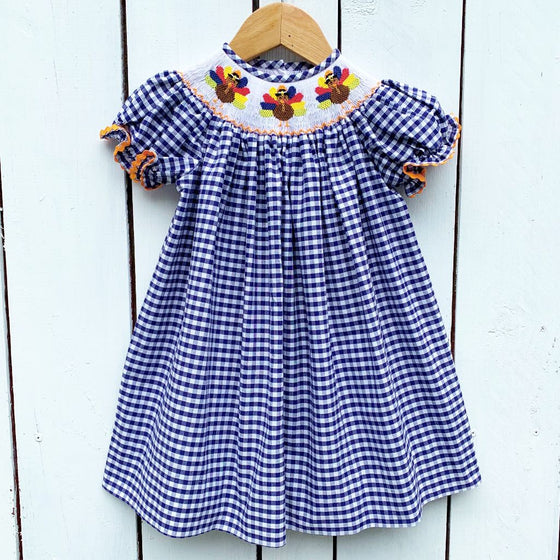 Girls Smocked Thanksgiving Dress