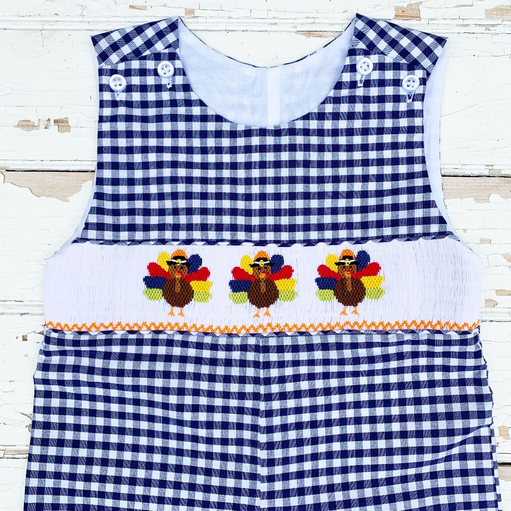 Boys Smocked Turkey Longall Jon Jon