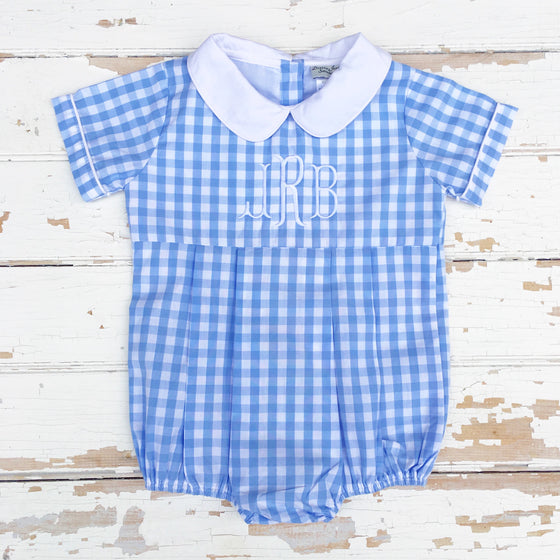 Baby Toddler Boy Blue Gingham Bubble Romper Monogram