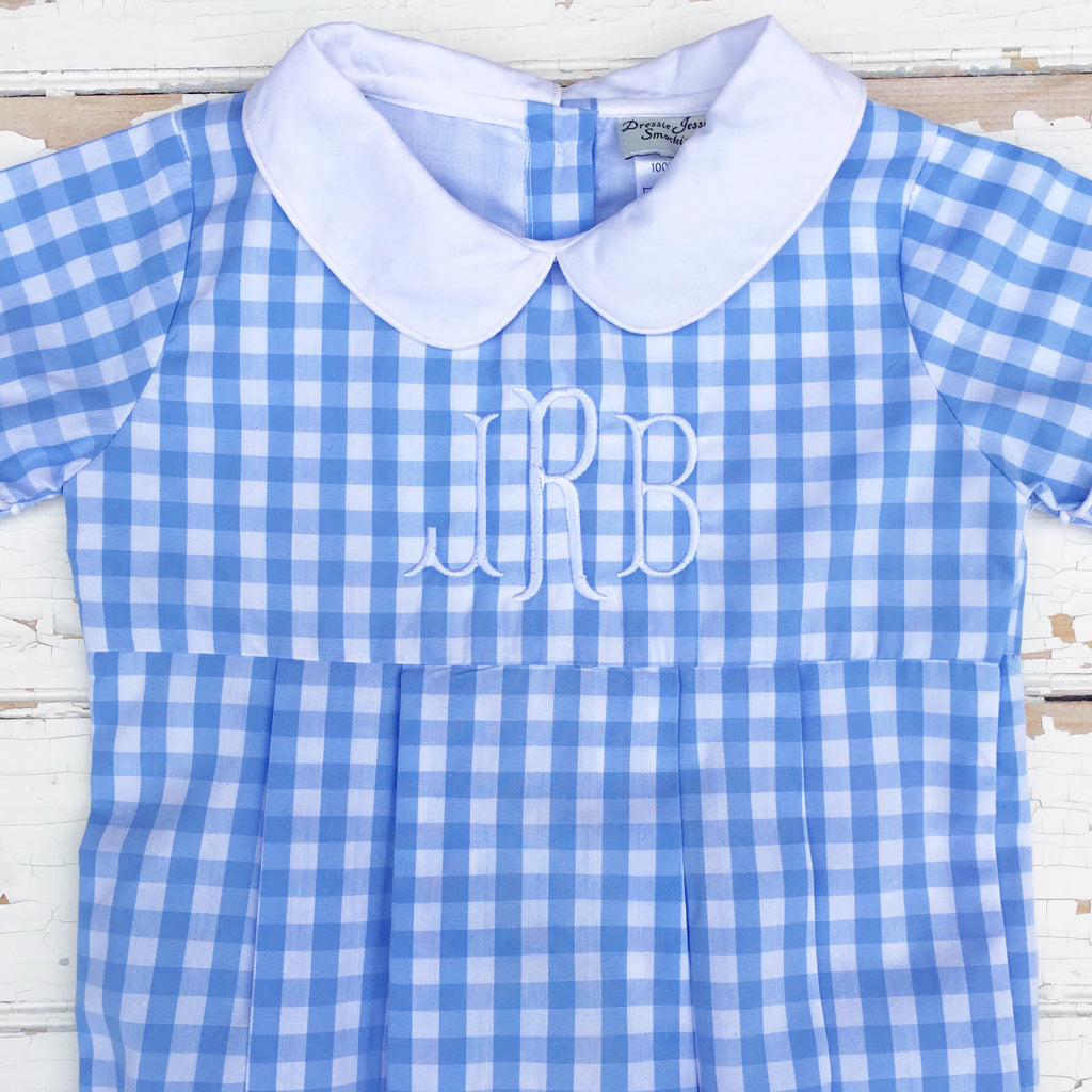 Blue Gingham Bubble Baby Boy Clothing Boutique Free Monogram