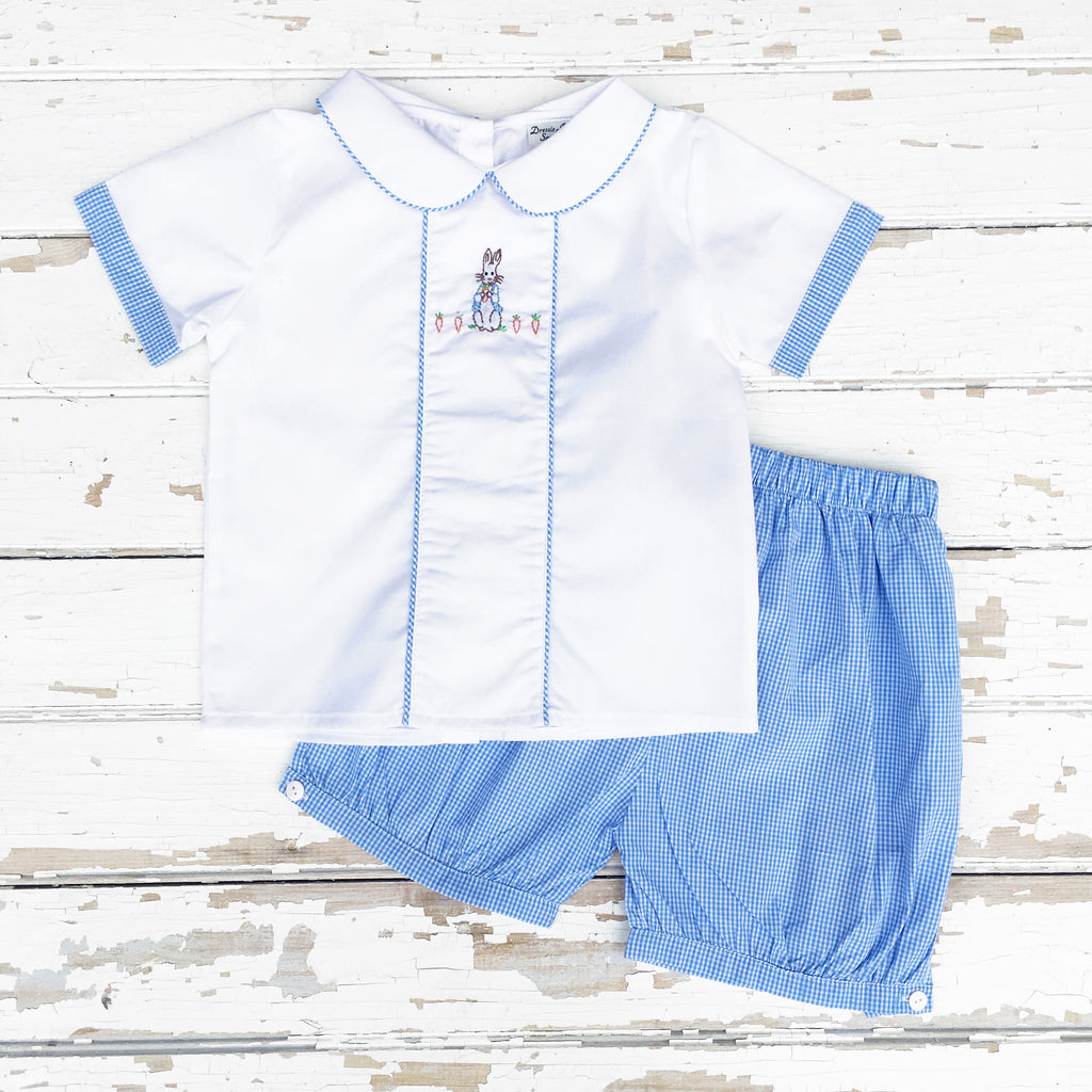 Boys Peter Rabbit Shirt and Shorts Set Blue Gingham Shadow Embroidery