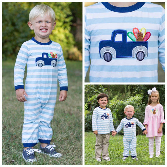 Boys Knit Turkey Truck Applique Romper