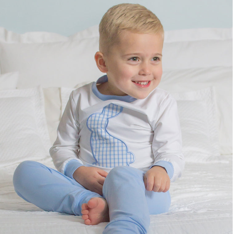 Boys Easter Pajamas Blue White Gingham Bunny appliqué loungewear