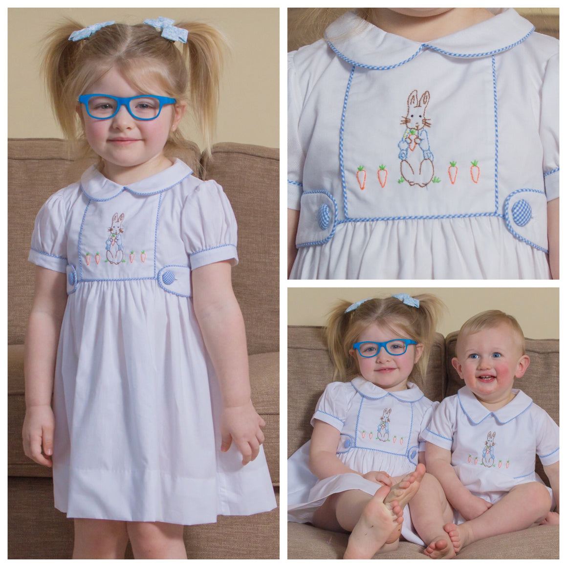 Girls Peter Rabbit Dress Beatrix Potter Shadow Embroidery Easter Dress