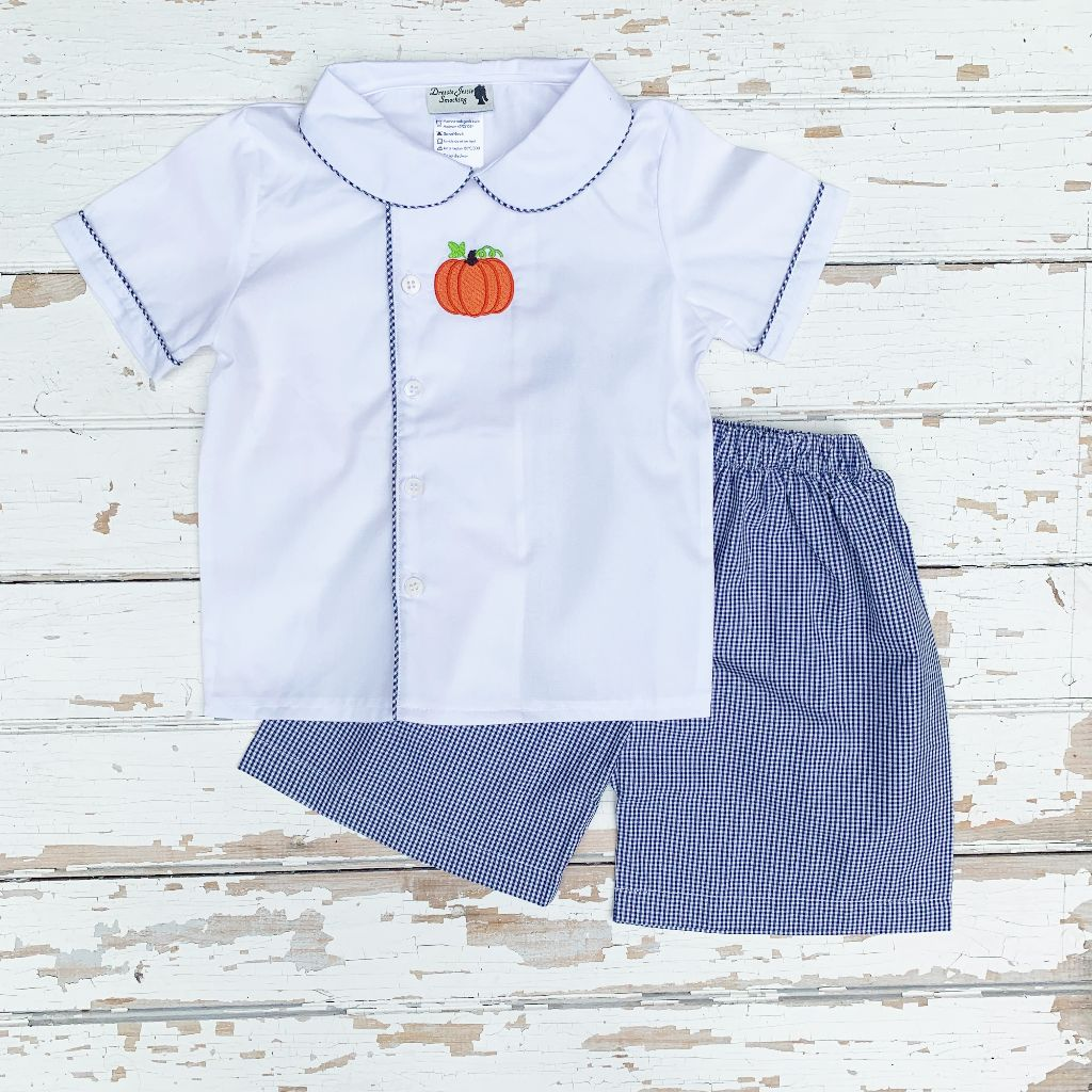 Boys Embroidered Pumpkin Shirt and Gingham Shorts Set