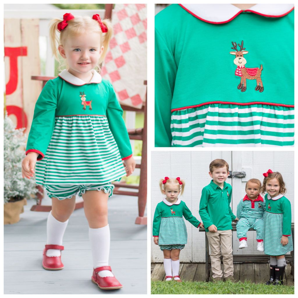 Girls Knit Bloomer Set Christmas Reindeer Embroidery