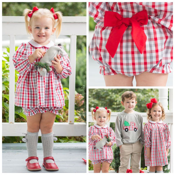 Baby Toddler Girls Christmas Gingham Bloomer Set Bow Back bloomers