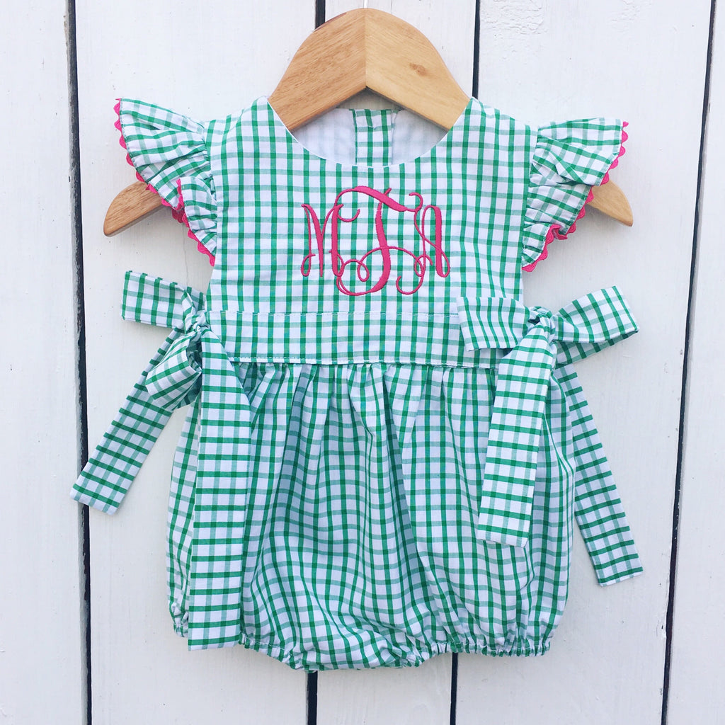 Green Windowpane Fabric Baby Toddler Girls Monogram Bubble