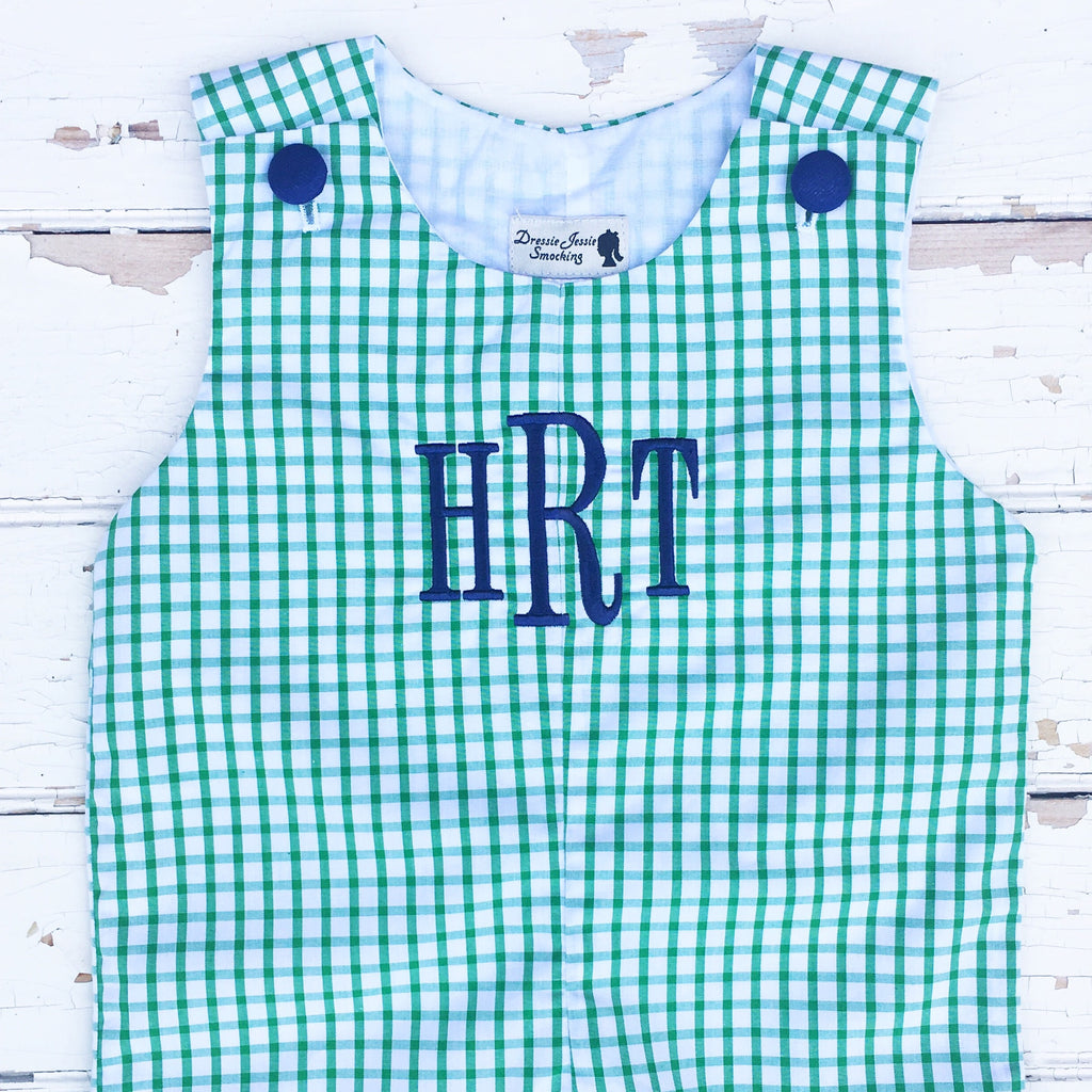 Classic Southern Clothing for Boys Green Gingham Navy Monogram