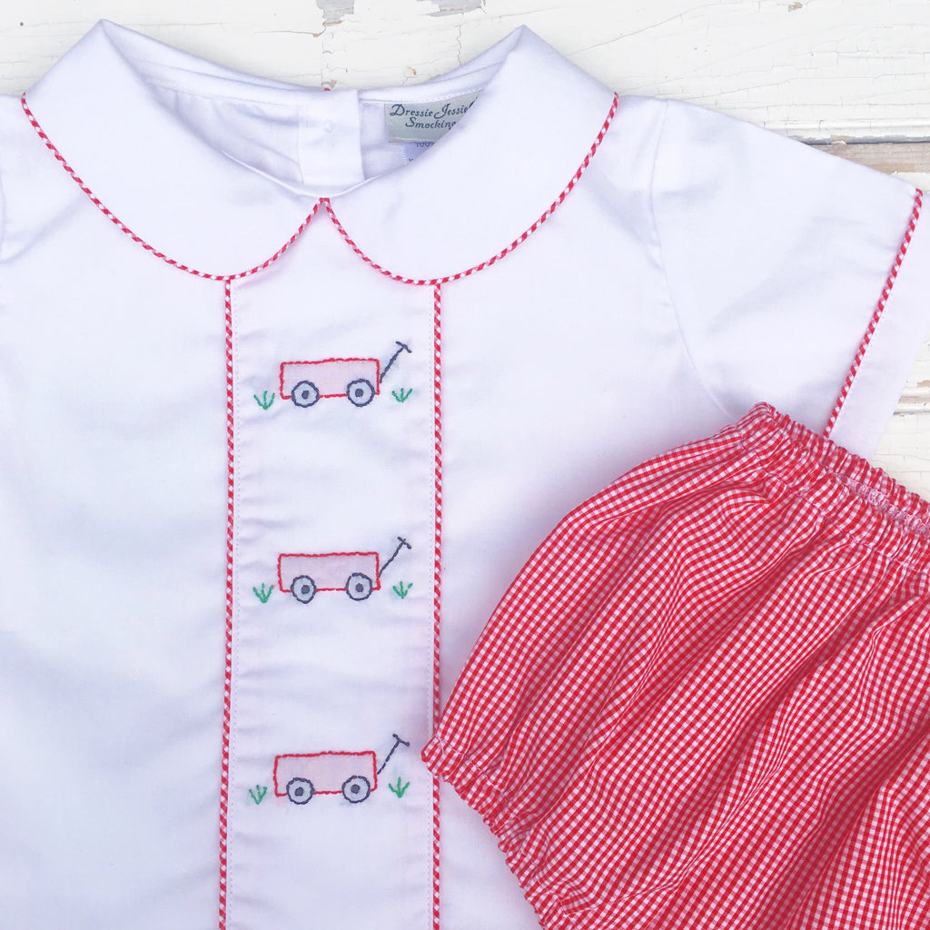Little Red Wagon Shadow Embroidery Boys Shirt Diaper Set Outfit