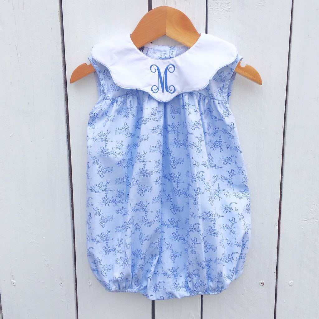 Blue Bird Fabric Baby Toddler Girls Bubble Free Monogram