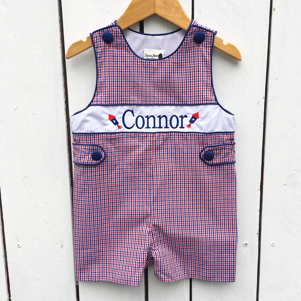 Infant Baby Toddler Boys July 4th Jon Jon Red White Blue Monogrammed Shortall
