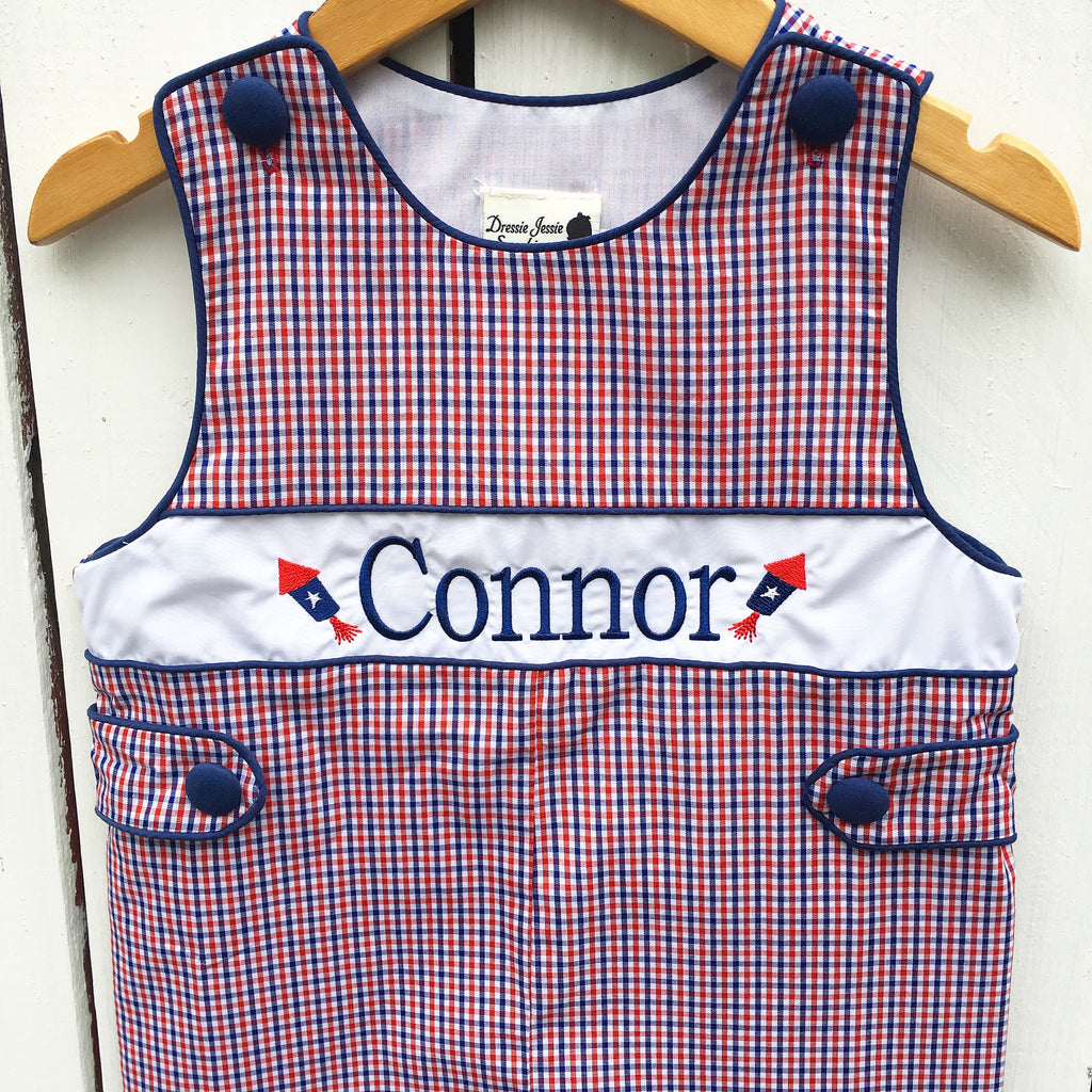 Boys Red White and Blue Gingham Check Shortall Monogrammed Jon Jon