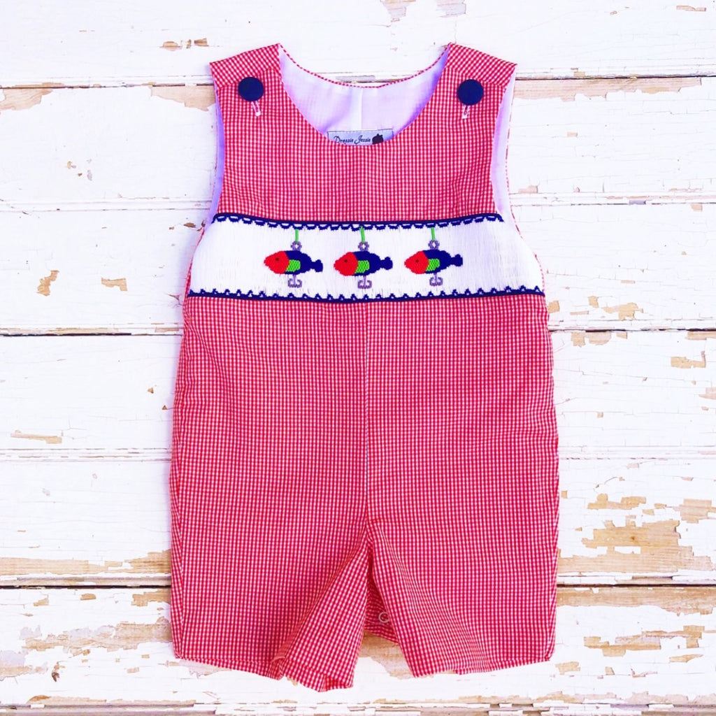 Smocked Fishing Lure Shortall Jon-Jon Baby Boy Smocking