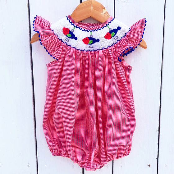 Smocked Fishing Lure Bubble Girls Summer Fishing Outfit Smocking