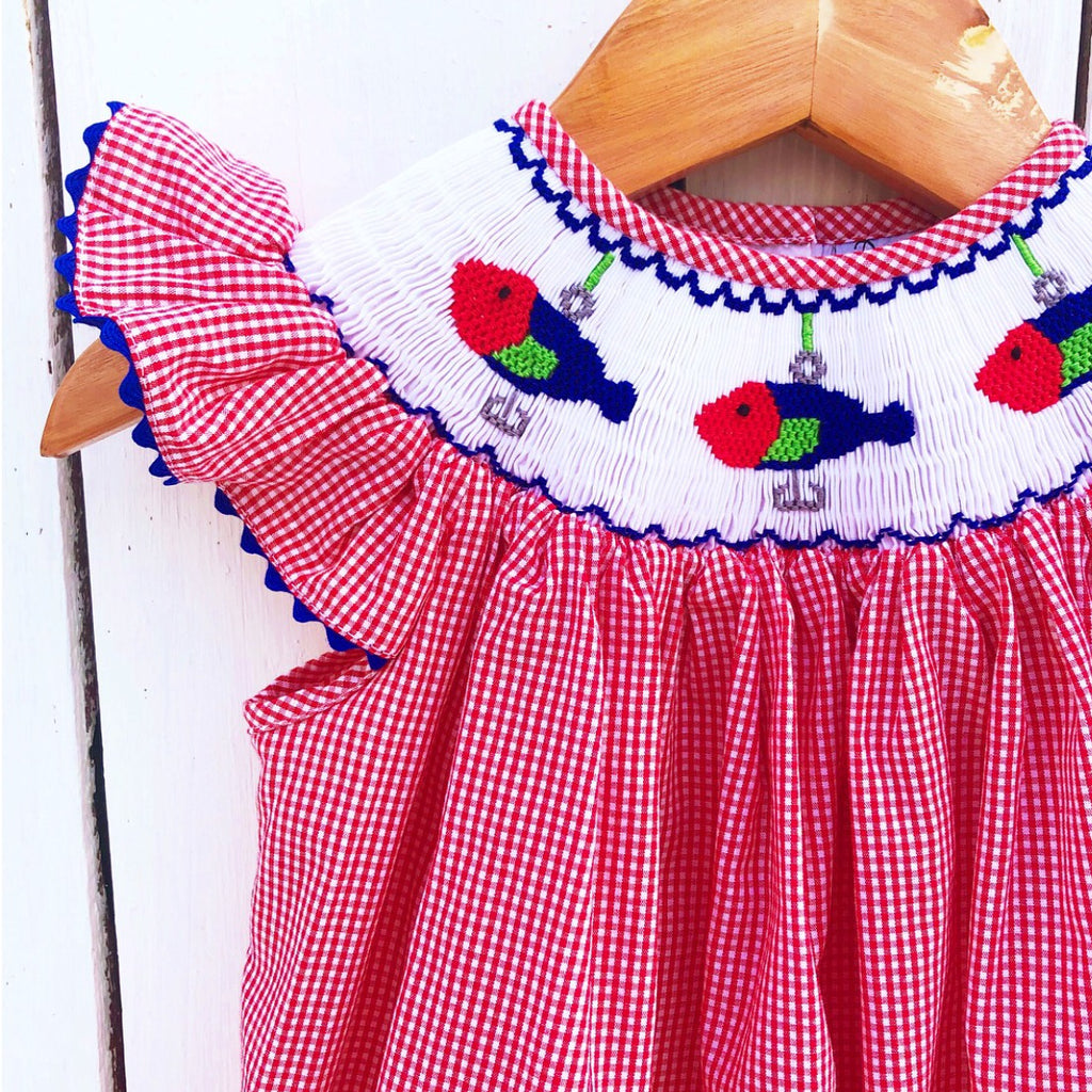 Red Gingham Smocked Fishing Lure Girls Smocked Clothing