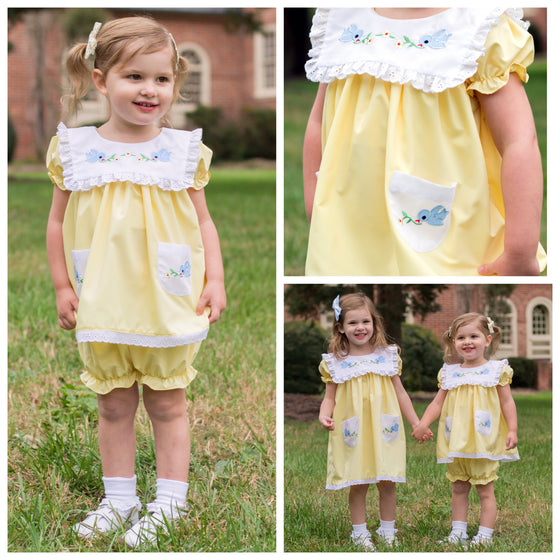Vintage Baby Clothes Yellow Vintage Inspired Bloomer Set Bluebirds Buttercups