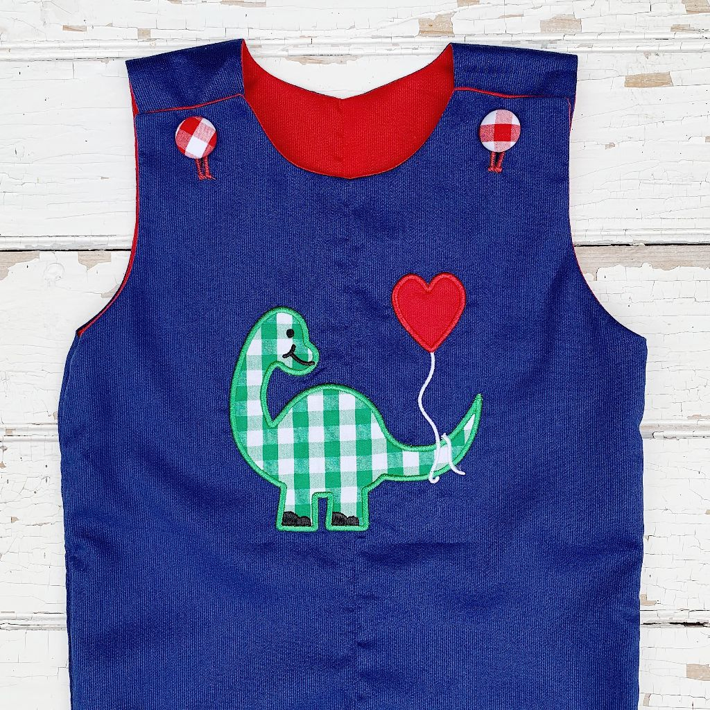 Boys Valentine's Day Longall Dinosaur Applique