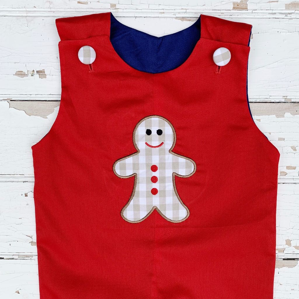 Infant Baby Toddler Boys Gingerbread Applique Longall