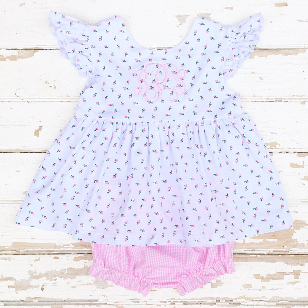 Pink Rosebud Knit Bloomer Set Pink Gingham Bloomers