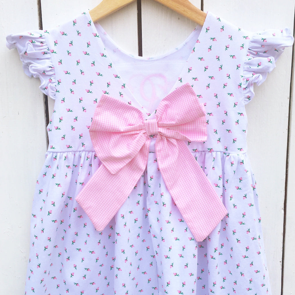 Pink Gingham Bow Back Dress Pink Rosebud Fabric