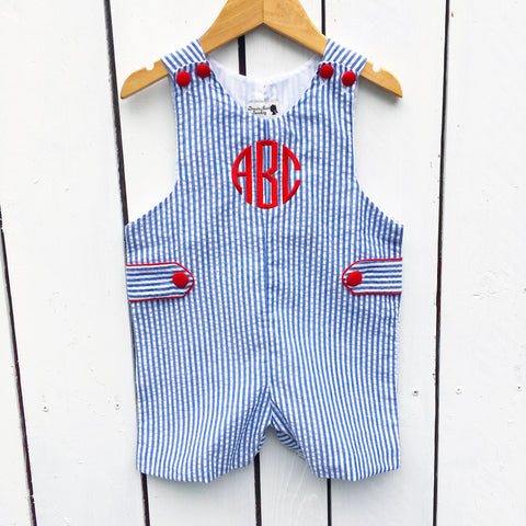 Blue Seersucker Shortall