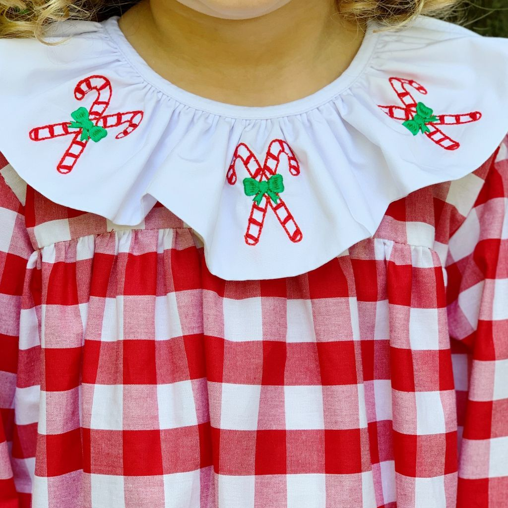 Girls Candy Cane Embroidery Red Check Christmas Dress