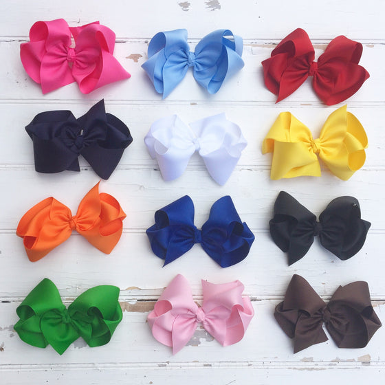 "Classic 5"" Hair Bow in Pink Blue Red Black White Yellow Orange Green Brown"