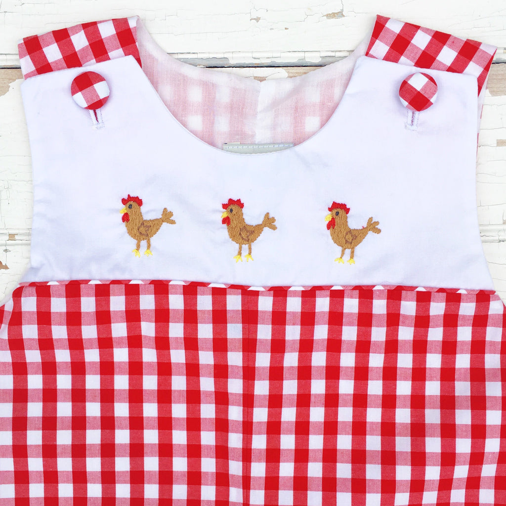 Red Gingham Shortall Jon-Jon Hand Embroidery Chickens Farm Animals