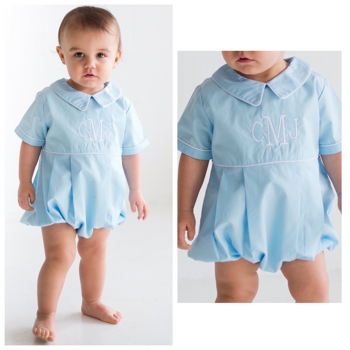 Boys Light Blue Monogrammed Bubble with White Piping