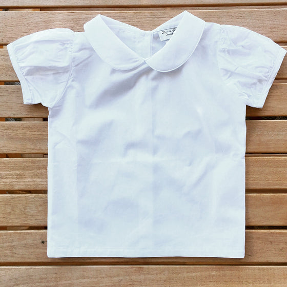Girls White Top with Peter Pan Collar