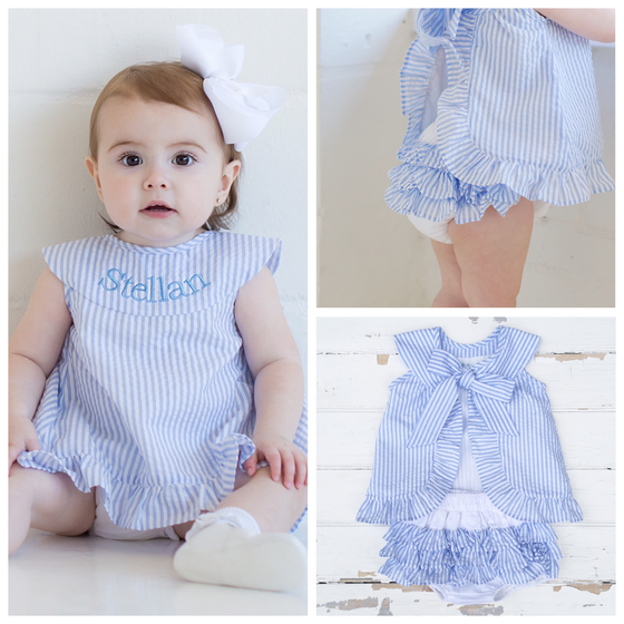 Seersucker Tie-Back Top and Bloomers Set - Dressie Jessie Smocking