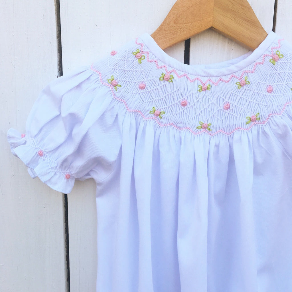 Heirloom white smocked bubble outfit baby girl clothes
