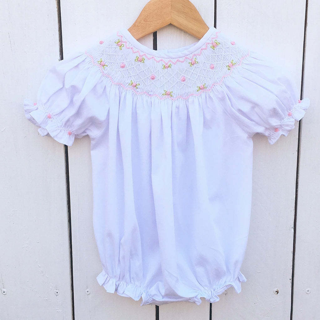 Baby Toddler Girl White Smocked Bubble Outfit Pink Smocking
