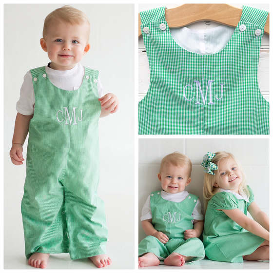 Boys Green Gingham Monogrammed Longall