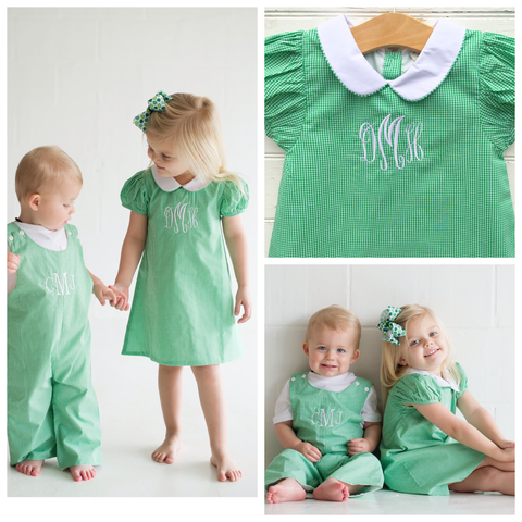 Green Gingham Dress - Dressie Jessie Smocking