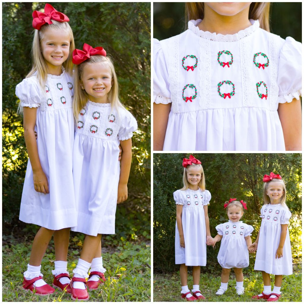 Girls White Christmas Dress Hand Embroidery