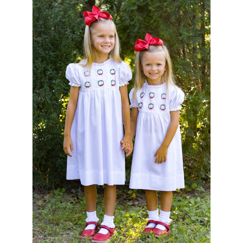 Girls White Christmas Dress with Embroidered Christmas Wreaths