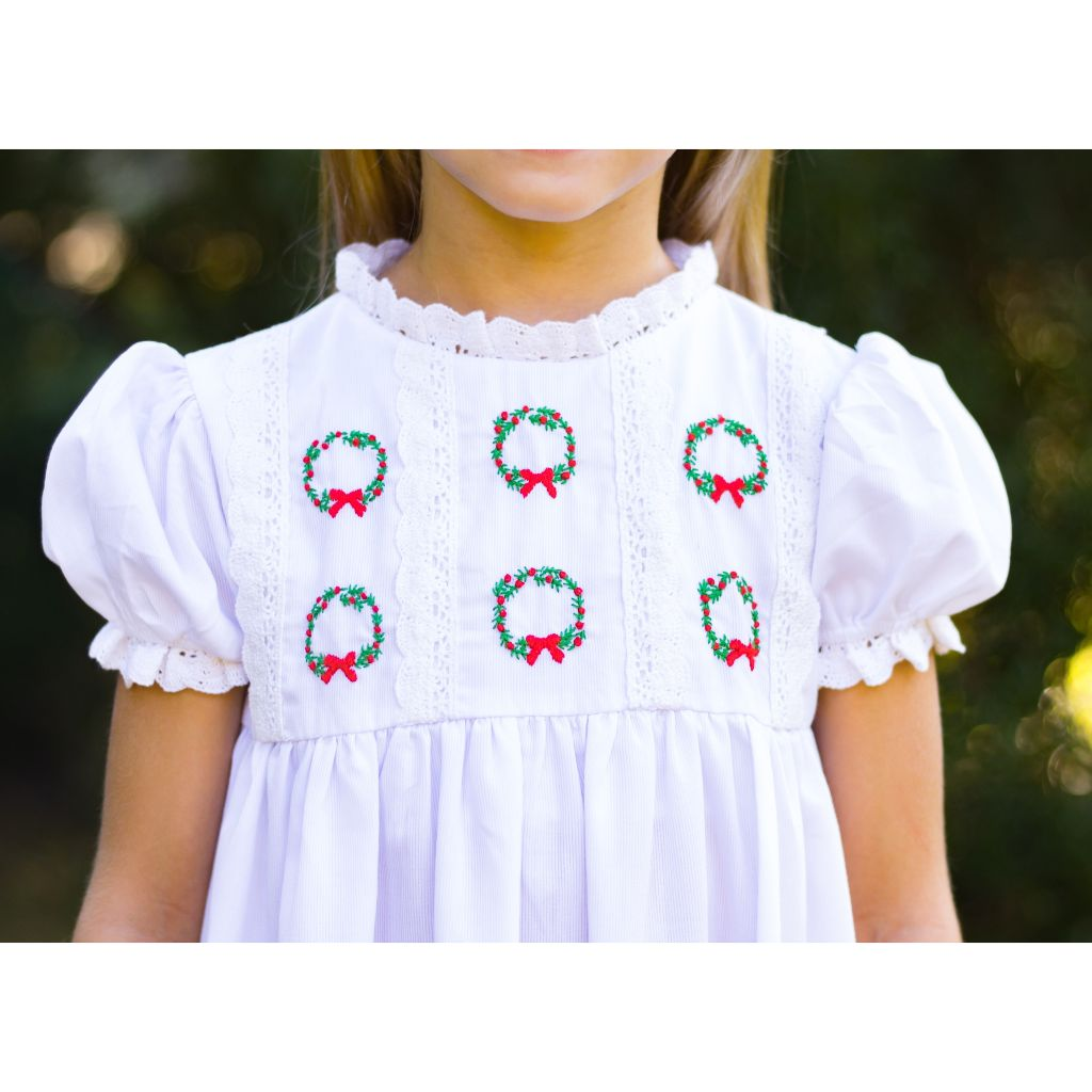 Embroidered Christmas Wreath and Lace Dress for Girls