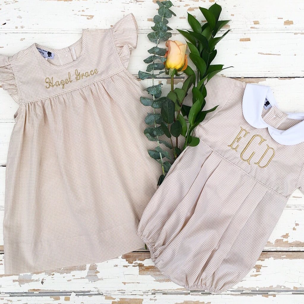 Classic Southern Clothing for Children Tan Gingham Dress Bubble Matching Sibling Outfits