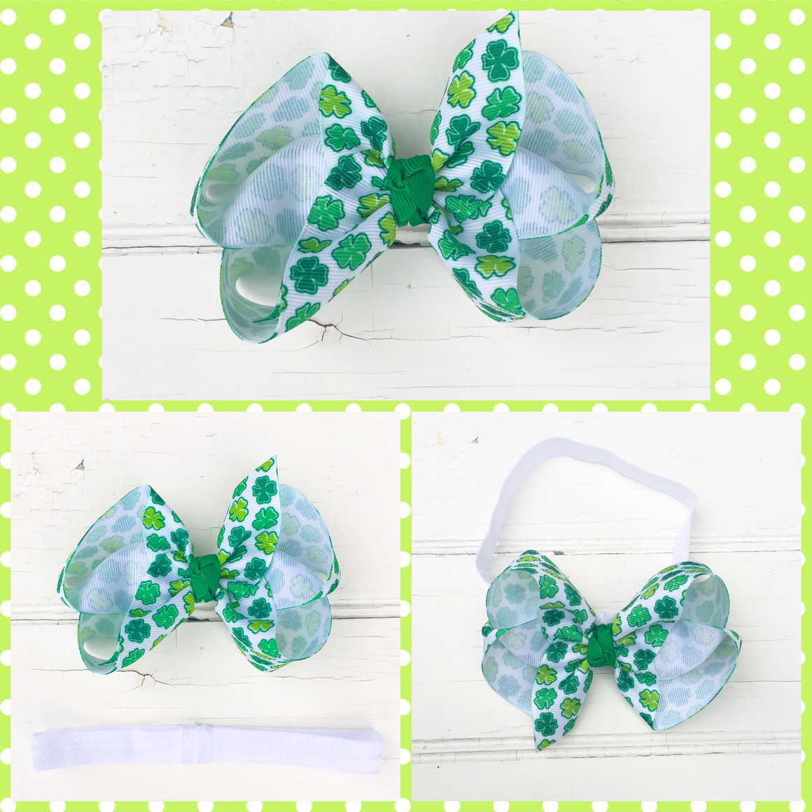 "4"" Clover Hair Bow"
